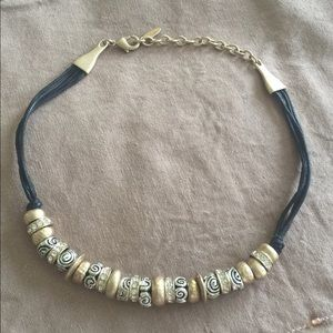 Jewelry - Necklace black rope with gold tone stones